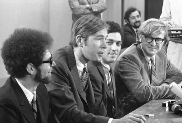 Four defense lawyers in the conspiracy trial of eight political activists, hold press conference at Federal Building in Chicago, Sept. 29, 1969, after Judge Julius Hoffman dismissed contempt charges against them. From left are Dennis Roberts, Oakland, California; Michael Tigar, Los Angeles; Gerald Lefcourt, New York, and Michael Kennedy, San Francisco. Judge Hoffman also allowed the four to withdraw from the case involving right defendants charged with violating the Federal Antiriot law. (AP Photo/Charles Knoblock)
